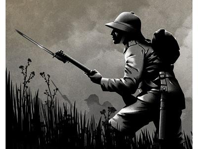 World War I remembrance history soldier ricardo rui folioart monochrome digital illustration