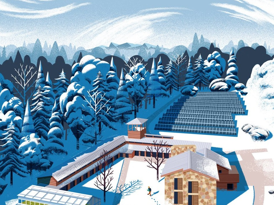 Choate Campus snow muti cover campus landscape winter folioart digital editorial illustration