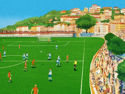 Football Pitch sunny football folioart hifumiyo landscape sport retro digital illustration