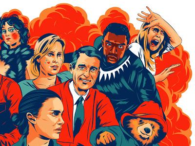 Best Films of 2018 celebrity portrait alexander wells film character folioart editorial digital illustration