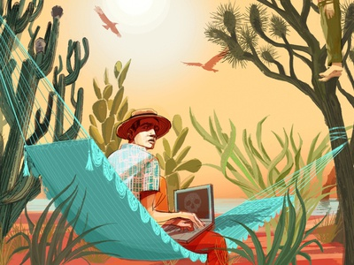 Mexican Reporter alex green folioart portrait cacti desert editorial journalism mexico digital illustration