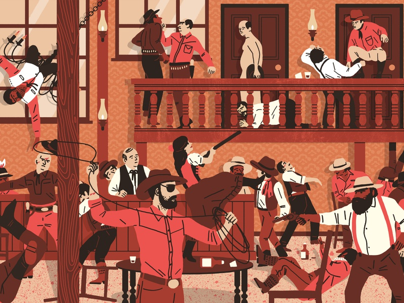 Bar Brawl scene retro michael parkin folioart humour cowboy character digital illustration