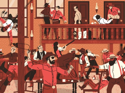 Bar Brawl scene retro michael parkin folioart humour cowboy character digital illustration