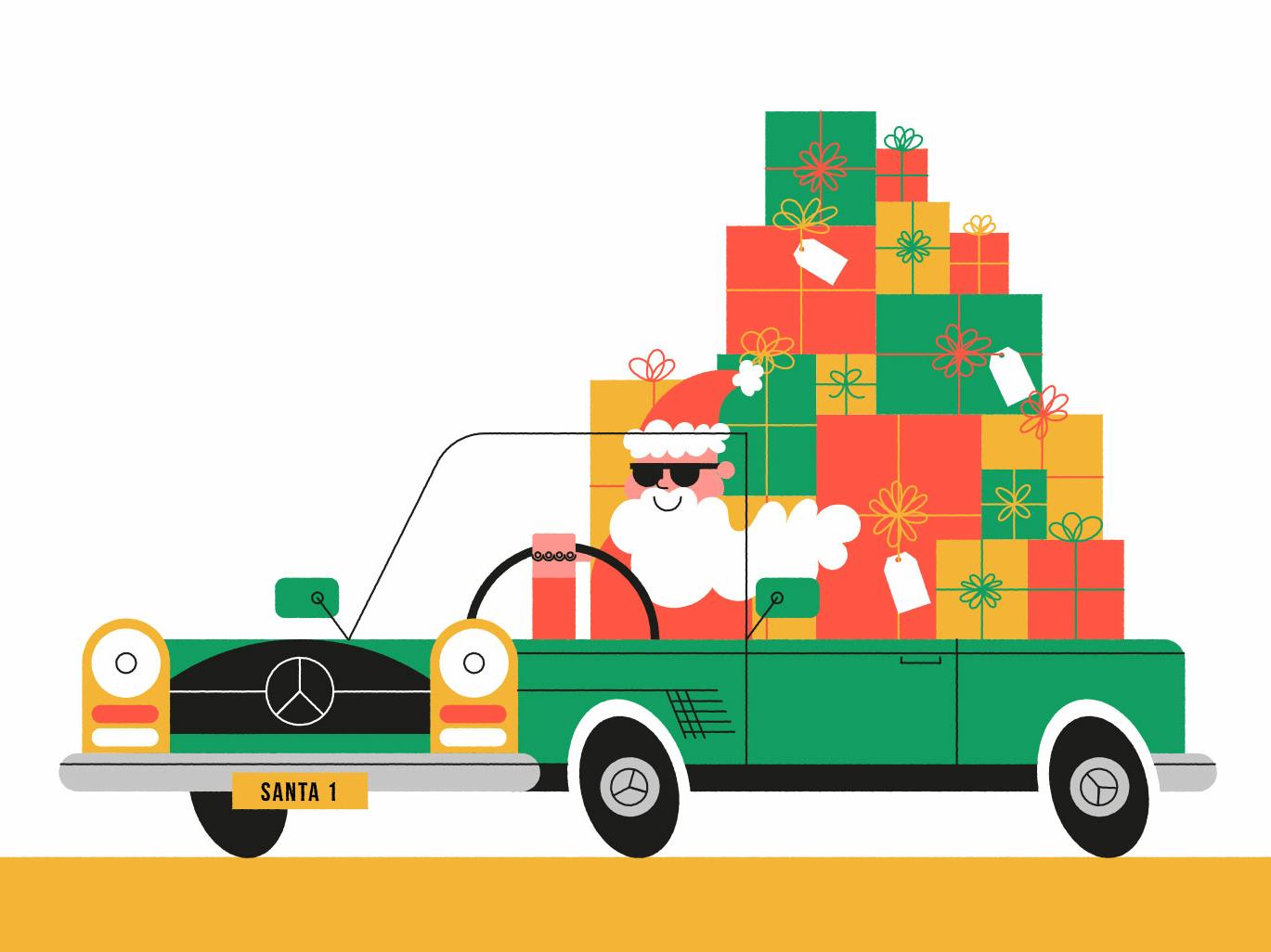Santa christmas john devolle humour car santa character folioart vector digital illustration