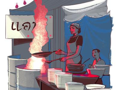 Bangkok street food chef alex green folioart digital thailand travel character food editorial illustration