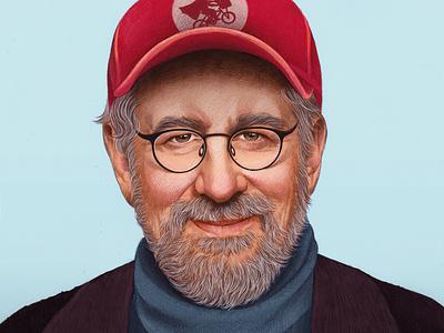 Steven Spielberg digital folioart mercedes debellard drawn realist portrait illustration