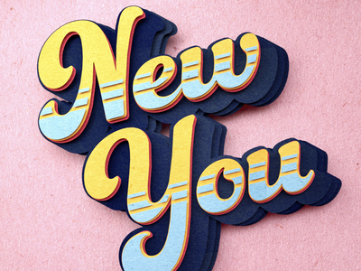 New Year, New You dusk studio folioart typography lettering 3d paper craft cgi digital illustration