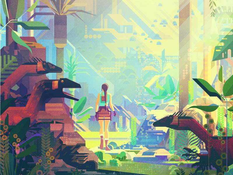 Tomb Raider game character folioart james gilleard dinosaurs jungle print texture digital illustration