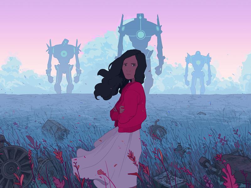Beyond folioart ricardo bessa girl narrative robots landscape character digital illustration