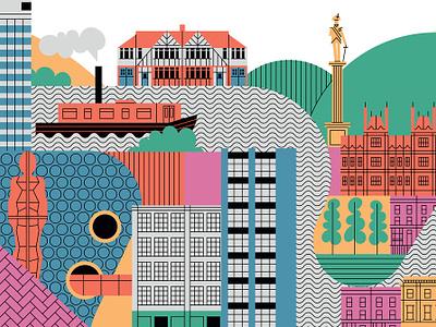 Birmingham to London london cityscape travel map folioart john devolle line vector digital illustration