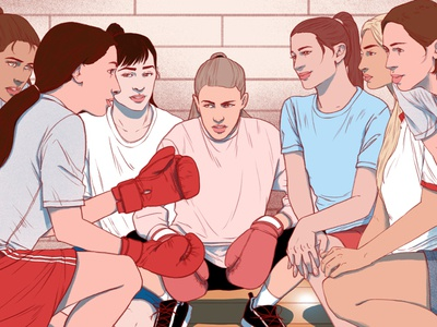 Boxer sport sarah maxwell women boxing editorial narrative folioart digital illustration