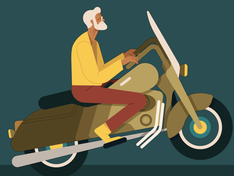 Retirement age kiki ljung motorbike retired character vector folioart digital illustration