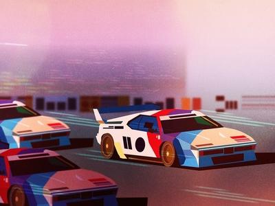 Fast Cars motion james gilleard cars racing graphic colour folioart digital illustration