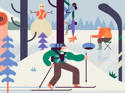 Winter Sports winter landscape owen davey google characters ski snow sport folioart digital illustration