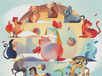 Zodiac character colourful jia-yi liu pig chinese new year zodiac animals folioart digital illustration