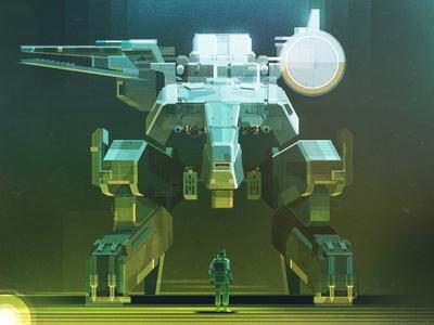 Metal Gear Rex texture james gilleard sci fi futuristic robot print folioart digital illustration