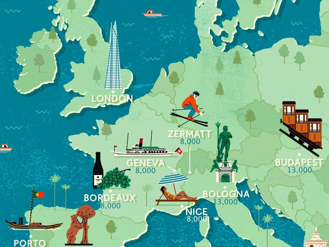 Europe europe michael parkin holiday travel map folioart editorial digital illustration