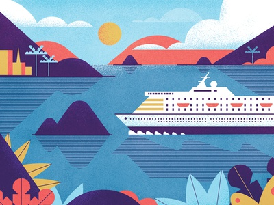 Package Holidays muti texture graphic cruise holiday landscape folioart editorial digital illustration
