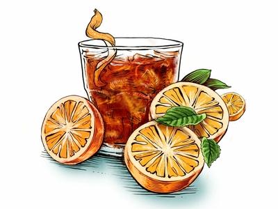 Negroni friyay cocktail julian de narvaez folioart fruit drink line ink drawn illustration