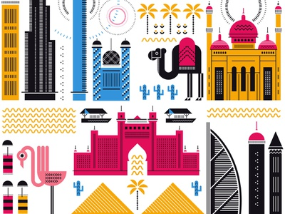 Dubai architecture sally caulwell icons travel vector graphic folioart illustration digital