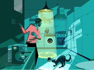Internet Of Things alex green home conceptual technology folioart editorial digital illustration