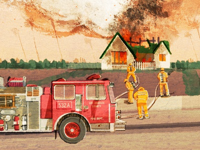 Fireland engine house folioart hifumiyo texture fire editorial digital illustration