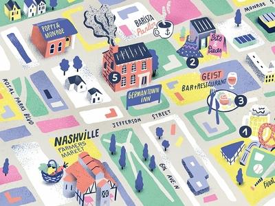 Nashville colourful antoine corbineau food map texture folioart editorial digital illustration