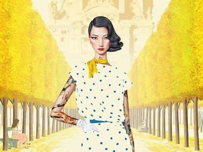 Tuileries Femme character digital folioart jason raish tattoo femme fashion paris france illustration