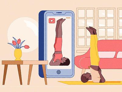 YouTube Fitness fitness home yoga kiki ljung vector character folioart editorial digital illustration