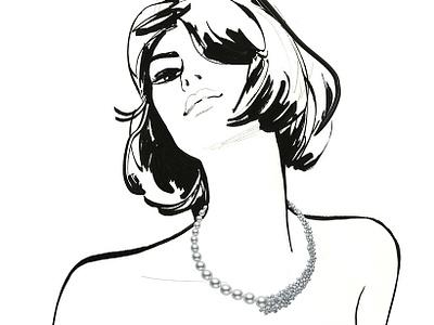 Jewels folioart jason brooks drawing brush pen jewellery woman fashion bw line illustration