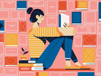 Reading michael driver woman home books reading character folioart digital illustration