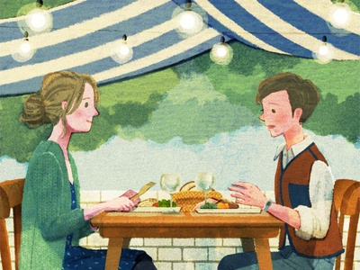 Restaurant hifumiyo texture restaurant couple food character folioart editorial digital illustration