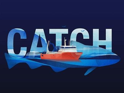 Catch karolis strautniekas ocean texture boat fish narrative web folioart digital illustration