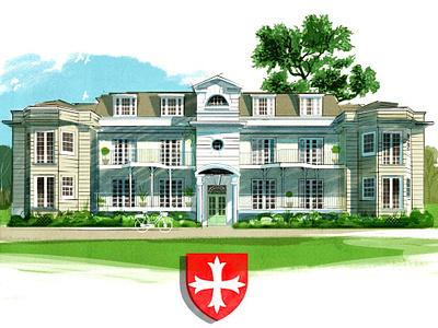 Runnymede crest alex green house architecture drawing folioart digital illustration