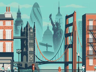 British Airways landmarks architecture rui ricardo flight travel city folioart editorial digital illustration