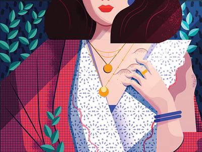 Lipomas pattern fashion woman character editorial folioart digital illustration