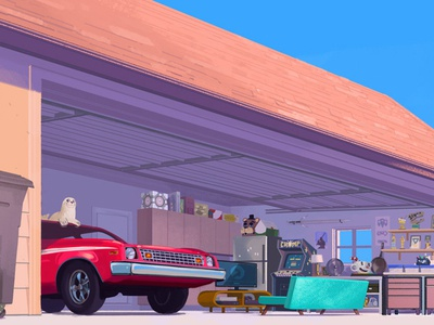 Spring Cleaning spring home garage car rebecca mock folioart digital illustration