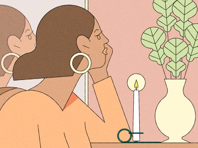 Idoo kiki ljung candle woman vector line character editorial folioart digital illustration