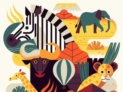 Safari nature travel owen davey graphic safari animals folioart digital illustration