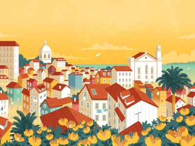 Lisbon rui ricardo portugal travel city landscape folioart digital illustration