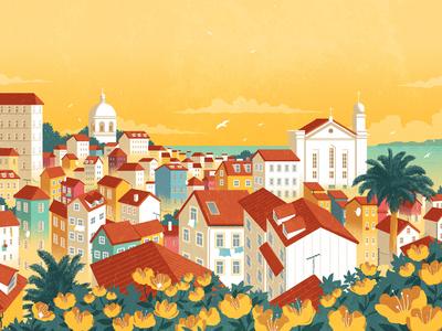 Lisbon rui ricardo portugal travel city landscape folioart digital illustration