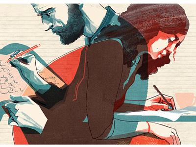 Literary Awards texture alex green woman man conceptual editorial drawn folioart digital illustration