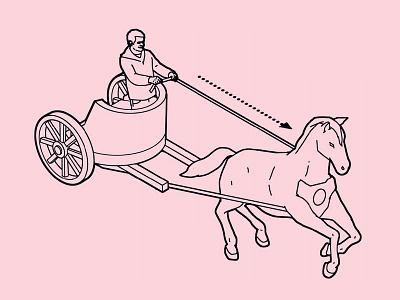 Chariot son of alan horse instructional advertising humour line isometric poster folioart digital illustration