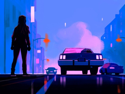 On The Come Up rebecca mock city car film cinematic editorial folioart digital illustration