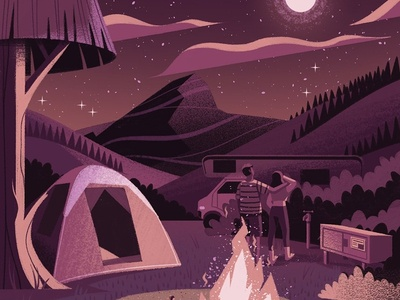 The Great Outdoors outdoors romantic couple camping landscape texture editorial folioart digital illustration