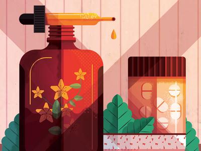 Herbal Medicine maite franchi herbs medicine texture editorial folioart digital illustration