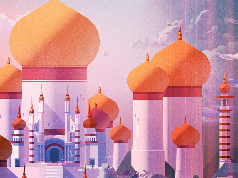Agrabah landscape castle folioart james gilleard disney fantasy digital illustration