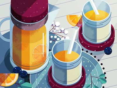 Happy Hydration texture maite franchi fruit health editorial folioart digital illustration