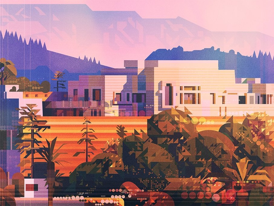 Ennis House landscape architecture folioart james gilleard geometric glitch texture graphic digital illustration