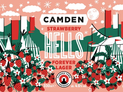 Strawberry Hells bodil jane landscape strawberries festival design packaging folioart digital illustration